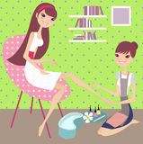 Nail art. 2 girls going nail art in a shop royalty free illustration