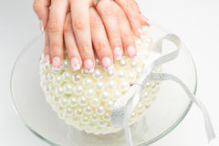 Nail art with colors pink white Stock Photo