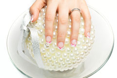 Nail art with colors pink white Royalty Free Stock Photography