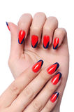 Nail art concept with hands stock photo