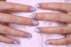 Nail art design. Beautiful nail design.  Female fingers on pink fabric with a handmade embroidery Stock Image