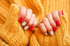 Nail art design for the fashion style. Natural nails, gel polish. Nail art design for the fashion style stock image