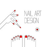 Nail art design in line style. Nail art design. Illustration  in line style Stock Images