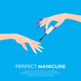 Nail art and elegant women's hand. Royalty Free Stock Photography