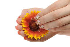 Nail art and flower Stock Photo