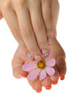 Nail art and flower Royalty Free Stock Photography