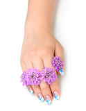 Nail art and flower Stock Photos