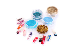 Nail art glitters Stock Image