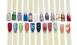 Nail art handmade samples Royalty Free Stock Images