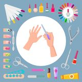 Nail Art and Instruments Set Vector Illustration. Nail art and instruments set, poster with hands and file in circle, scissors and bottles with polish, tubes and royalty free illustration