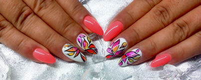 Nail art. Lovely nails design royalty free stock photography