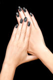 Nail Art. Magnetic Nail Lacquer. Tattoo Stock Images