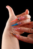 Nail art manicure. Hands showing nail art manicure Stock Images