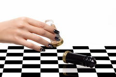 Nail Art. Manicure and Chess Royalty Free Stock Photography