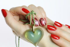 Nail art manicure. Natural nails. Beautiful nail art for you. Hand care and manicure for all nail lovers Stock Photo