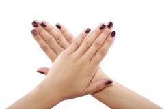 Nail Art. Modern nail art with patterns and custom polish designs royalty free stock image
