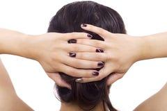 Nail Art. Modern nail art with patterns and custom polish designs royalty free stock photo