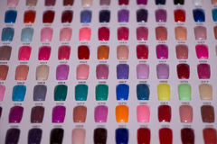 Nail art palette. With color paints testers stock photos