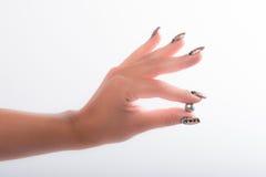 Nail art and pearls Royalty Free Stock Images