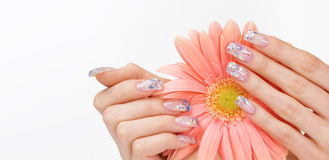 Nail art and pink flower Royalty Free Stock Photo