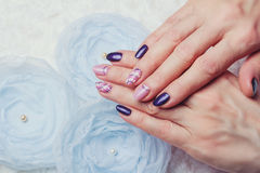 Nail art with purple and pink colors Royalty Free Stock Photos