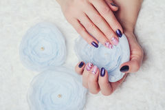 Nail art with purple and pink colors Stock Photo
