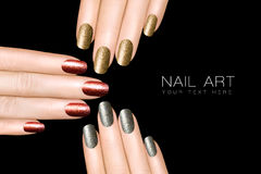 Nail Art Trend. Luxury Glitter Nail Polish. Nail Stickers Royalty Free Stock Photo
