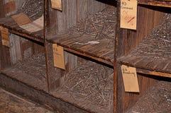 Old Nail Bin in Hardware Store Stock Photos