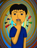 Nail bite. An illustration of a young man biting his nails in confusion Stock Image