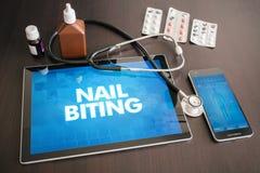 Nail biting (cutaneous disease) diagnosis medical concept on tab Royalty Free Stock Image