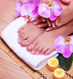 Nail care. French Manicure on Female Feet and Hands Stock Photo