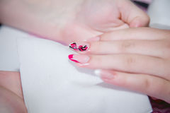 Nail care, manicure in a beauty salon Royalty Free Stock Image