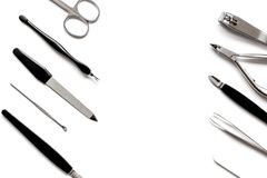Nail care - manicure set on white background top view.  royalty free stock photos