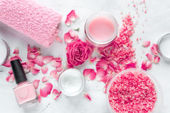Free Nail Care Spa Set With Rose Polish, Cream White Background Top View Royalty Free Stock Photography - 91824427