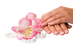 Nail care for women's hands Royalty Free Stock Photography