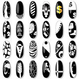 Nail collection in black and white. Royalty Free Stock Photo