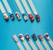 Nail design with festive Christmas theme.  royalty free stock photo