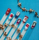 Nail design with festive Christmas theme.  stock images