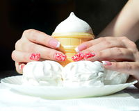 Nail design: french manicure and the white stamping on red royalty free stock photography