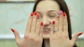 The nail design. Job manicurist. Closeup stock video