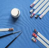 Nail design kit. The concept drawings on the nails stock photo