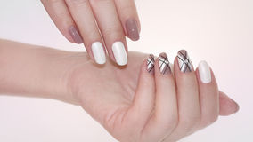 Nail design . Manicure nail paint . Royalty Free Stock Photography