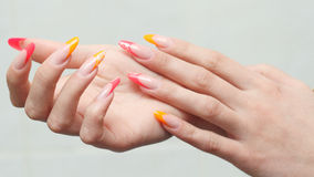 Nail design . Manicure nail paint . Stock Image