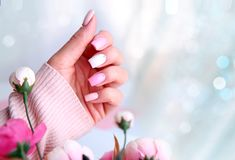 Nail design manicure empty space background. Nail design pink color.Manicured hand with flowers with empty copy space royalty free stock photos