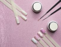 Nail design with pink polish. royalty free stock photos