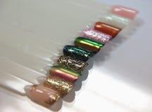 Nail design samples at the tips. New Year`s nail designs stock images