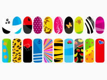 Nail designs. Vector illustration of different nail  designs Stock Photo