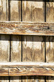 Nail dirty stripped paint in the brown wood wet Royalty Free Stock Photo