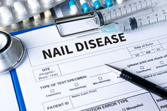 NAIL DISEASE Fungus Infection on Nails Hand, Finger with onycho Royalty Free Stock Images