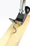 Nail drawer pulls out a curve nail. From wooden bar Stock Photography